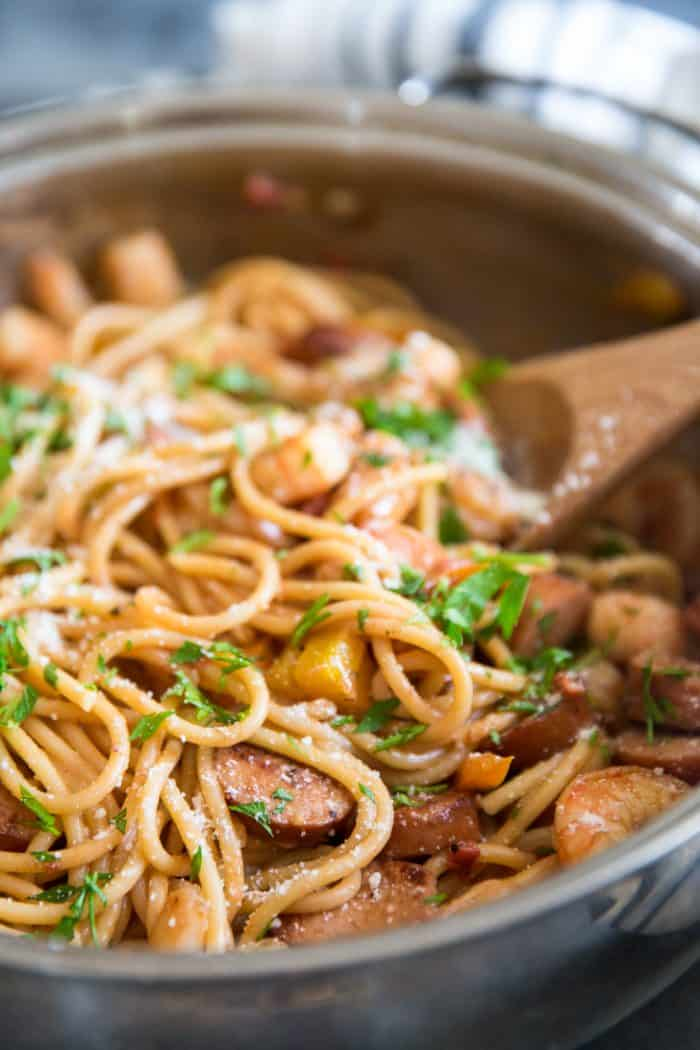 Jambalaya pasta close up