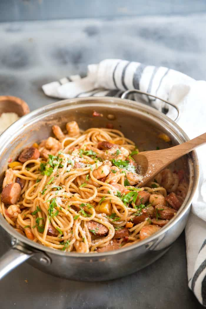 Jambalaya pasta with spoon