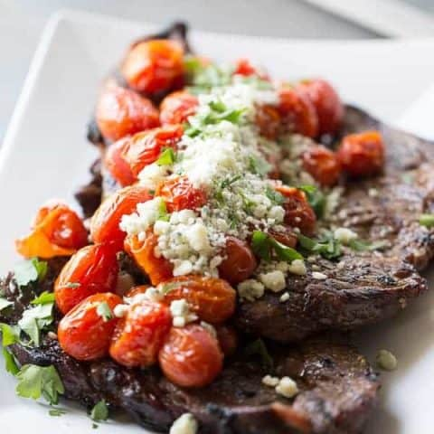 Grilled Sirloin Steak with Roasted Tomatoes and Blue Cheese