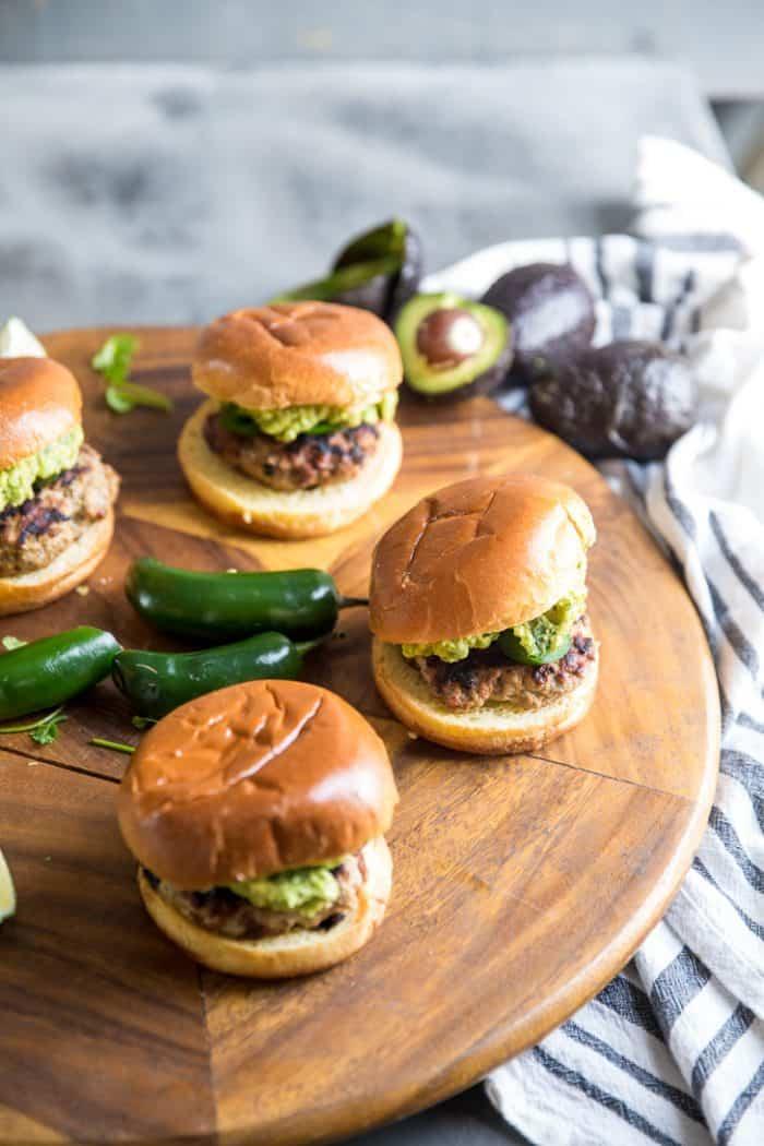 Turkey burgers on a tray