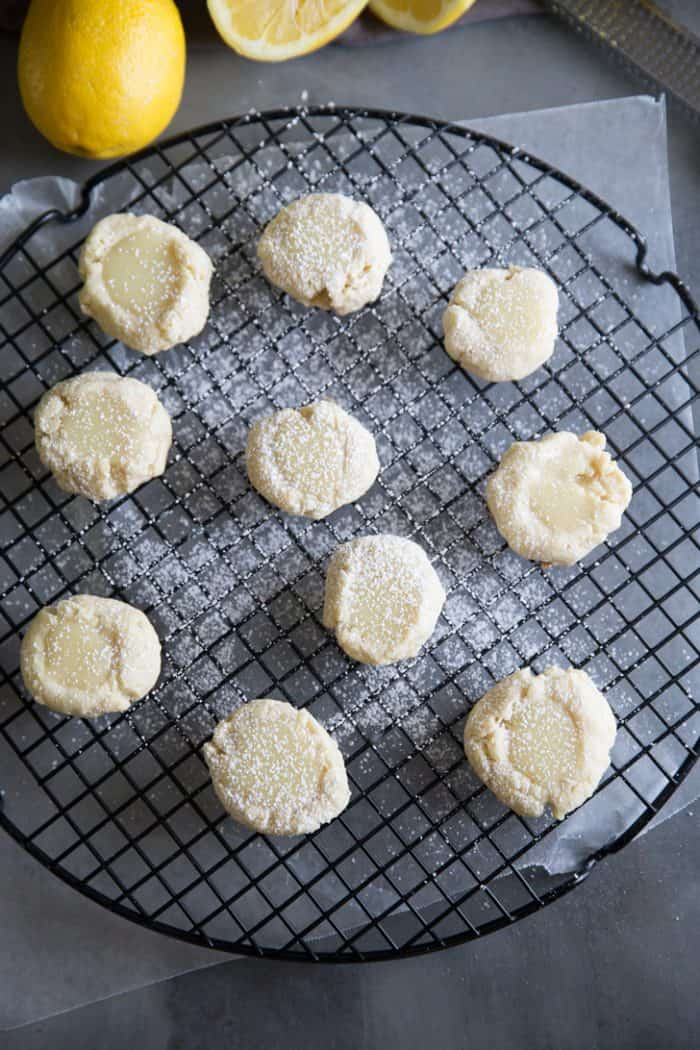 lemon cookies on a cooling rack