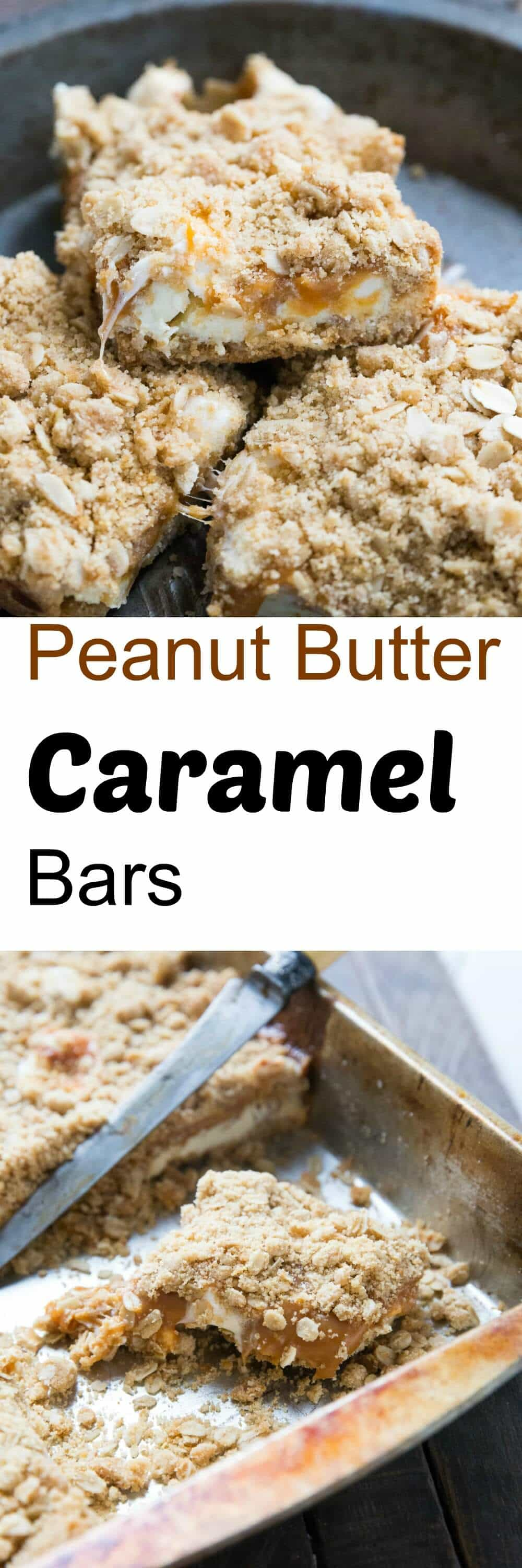 Oatmeal caramel bars have a silky peanut butter caramel layer and lots of white chocolate chips.  Each bite melts in your mouth!