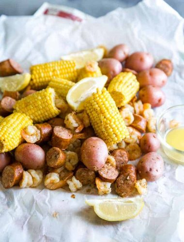 Shrimp boil on paper