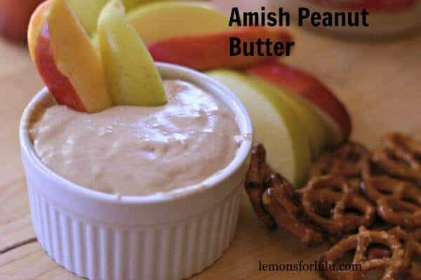This Amish peanut butter recipe is thick with fluffy marshmallow cream, sweet maple syrup and peanut butter! It is perfect on it's own, with fruit, or anything you care to dip into it! lemonsforlulu.com
