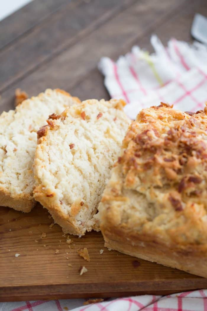 Beer bread is the perfect side for your fall soups and chilis! This bread is loaded with bacon and creamy cheddar, a perfect combination!