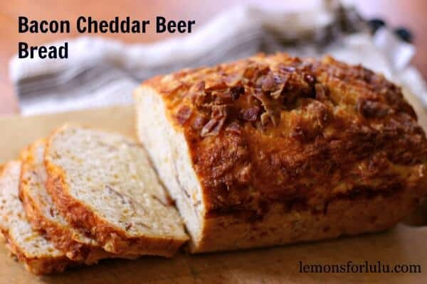 Bacon-Cheddar-Beer-Bread is filled with the perfect amount of cheddar cheese and salty bacon. It is perfectly soft and savory. lemonsforlulu.com