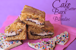 Cake Batter Bark Blondies