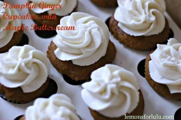 Pumpkin-Ginger-Cupcakes-with-Maple-Buttercream-make for perfect two bite treats! lemonsforlulu.com