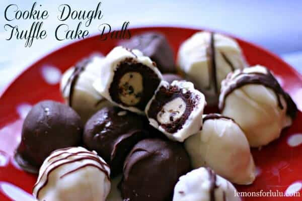 Rich chocolate cake balls with a creamy, egg free cookie dough center! lemonsforulu.com