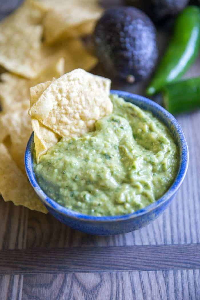 green salsa chip
