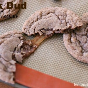 Soft Nutella cookies with a surprising Milk Dud center! lemonsforlulu.com