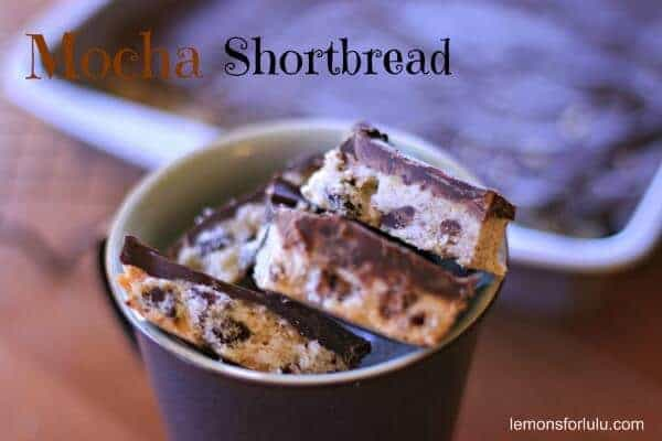 A shortbread recipe studded with chocolate chips and simple mocha glaze. lemonsforlulu.com