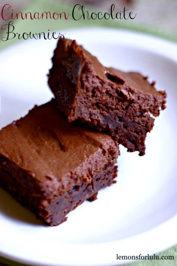 Thick chocolate brownies are soft and fudgy and bursting with cinnamon in this Cinnamon Chocolate Brownies recipe!! lemonsforlulu.com