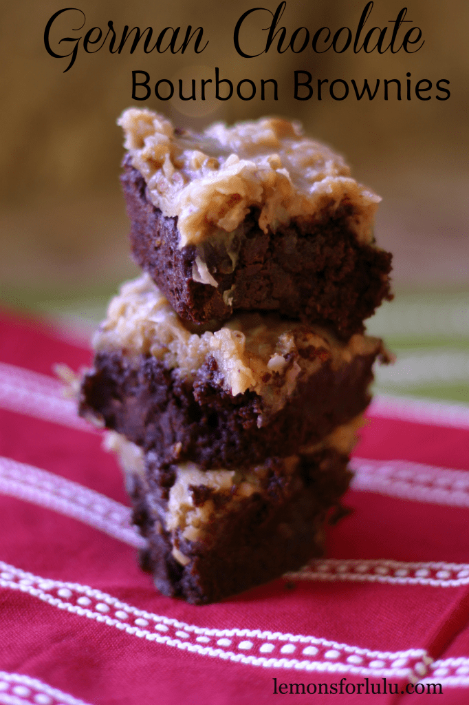 German Chocolate Bourbon Brownies