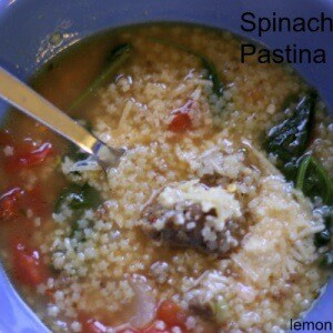 Italian sausage, spinach and tiny pastina pasta come together in this incredibly easy soup! lemonsforlulu.com