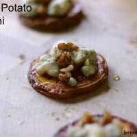 Sweet potato rounds are topped with piquant blue cheese, spiced nuts and a honey drizzle! lemonsforlulu.com