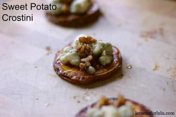 Sweet potato rounds are topped with piquant gorgonzola, spiced nuts and a honey drizzle! lemonsforlulu.com