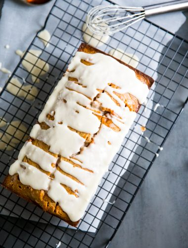 simple banana bread recipe on wire rack