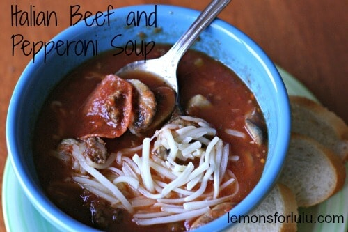 Warm, comforting soup with savory beef, spicy pepperoni. Tastes just like a pizza!