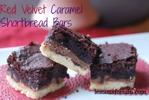 Red Velvet Caramel Shortbread Bars