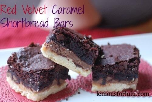 Red Velvet Caramel Shortbread Bars