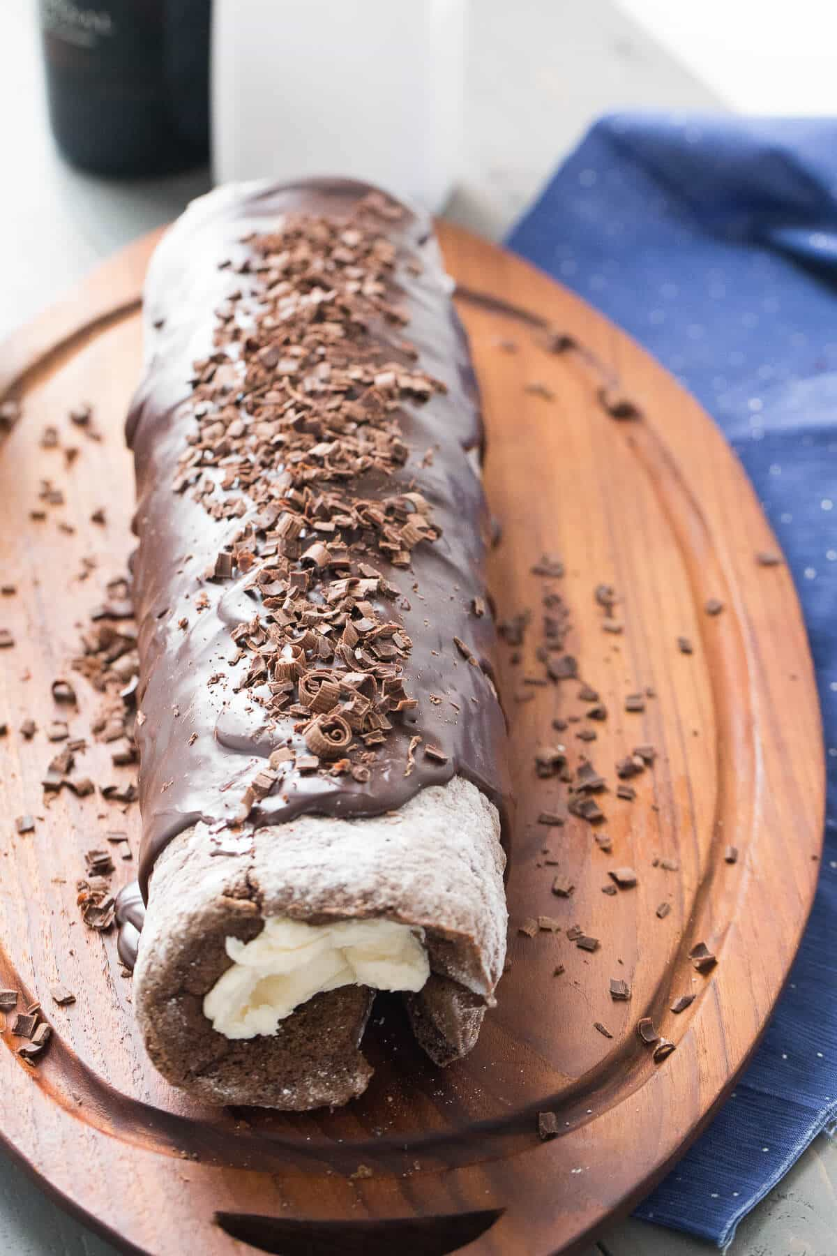 This chocolate roll has a hint of mocha and a creamy Bailey's filling! The Baileys ganache sets it apart!