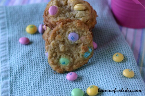 Coconut White Chocolate M & M Cookies | lemonsforlulu.com