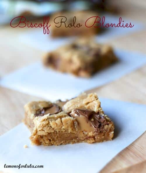 Biscoff Rolo Blondie Brownies