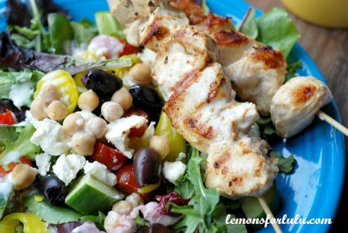 Greek Chicken Souvlaki Salad - LemonsforLulu.com
