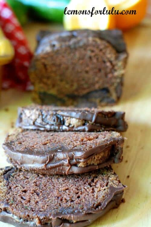 Double Chocolate Zucchini Bread with Chocolate Orange Glaze