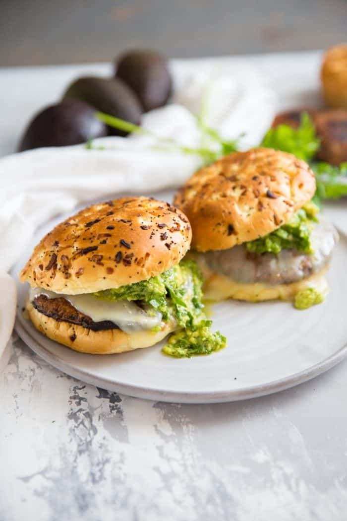 portobello mushroom burger on gray plate