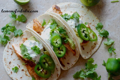Salmon Tacos with Jalapeno Cream