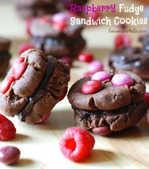Raspberry Fudge Sandwich Cookies