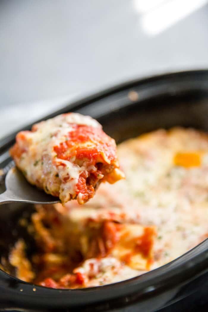 Crockpot lasagna being served