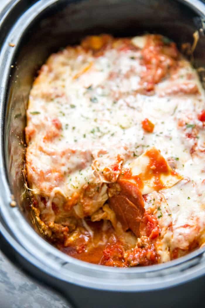 crockpot lasagna with pepperoni