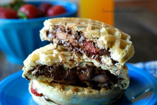 Nutella Strawberry Waffle Breakfast Sandwich