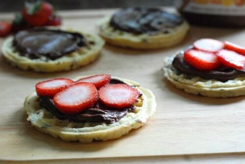 Nutella Strawberry Waffle Sandwich Prep 1