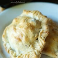 A savory hand pie filled with ground beef, veggies and Greek seasoning