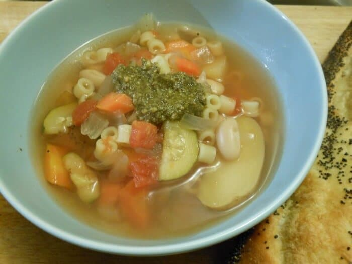 Slow Cooker Veggie Pesto Soup www.sugardishme.com