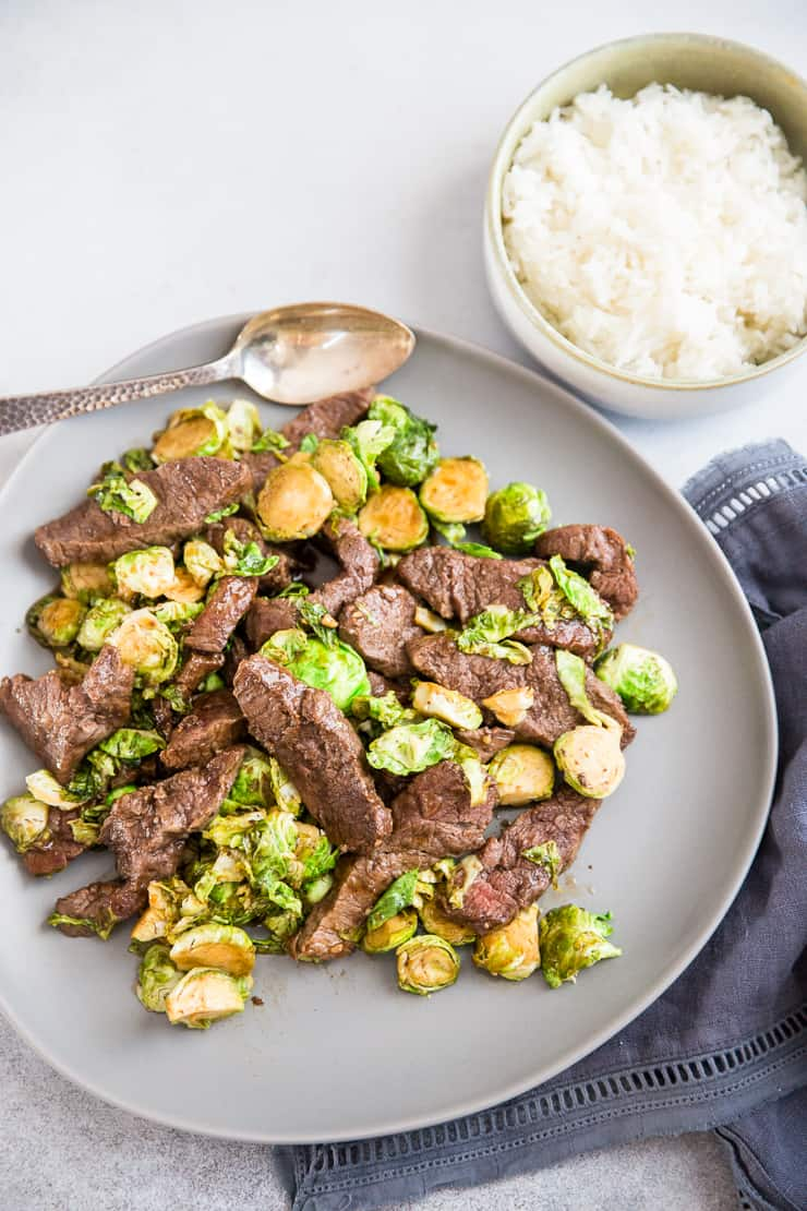 beef stir fry with brussels sprouts