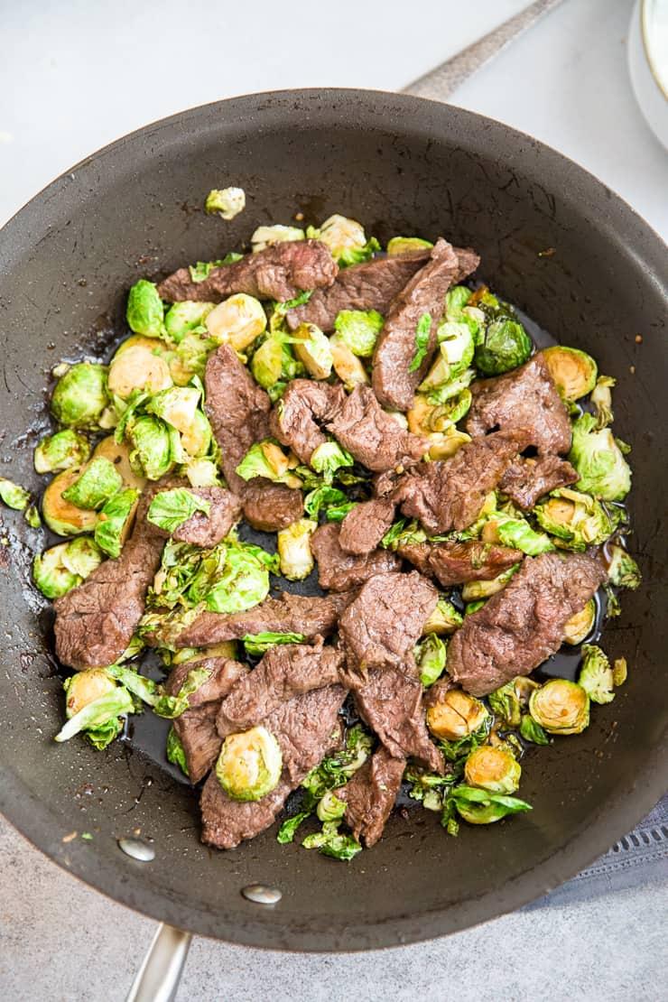 beef stir fry in skillet