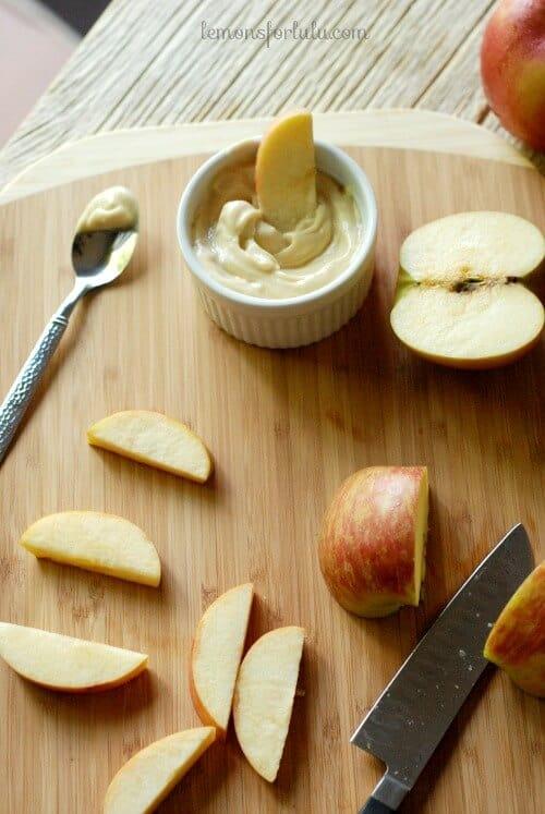 Caramel flavored fruit dip perfect for apples and pears! www.lemonsforlulu.com