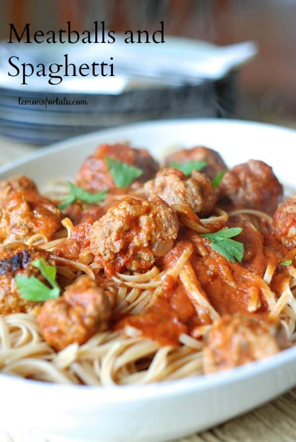 Lightened meatballs make this spaghetti dish guilt free and satisfying! www.lemonsfosrlulu.com