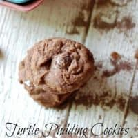 Delicious Chocolate pudding cookies on a wood table.
