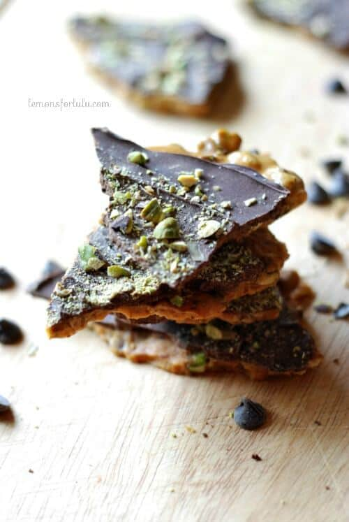 Pistachios and cardamom combine in this chocolate covered brittle.  www.lemonforlulu.com