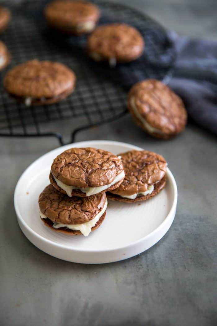 Sandwich cookies on a plate