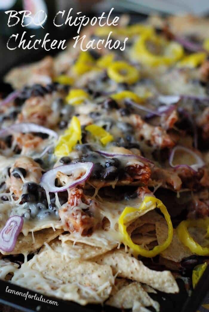 BBQ chicken chipotle nachos www.lemonsforlulu.com