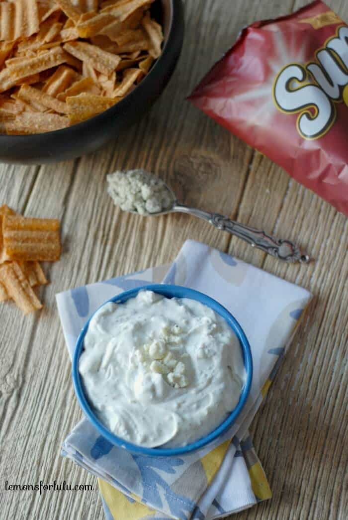 This blue cheese ranch dip is creamy and cool, and an easy recipe! A tangy partner for chips and veggies! One dip and you'll be hooked! www.lemonsforlulu.com