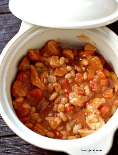 Cajun sausage and chicken cassoulet www.lemonsforlulu.com