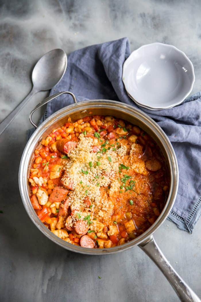 Cassoulet recipe with spoon on the side